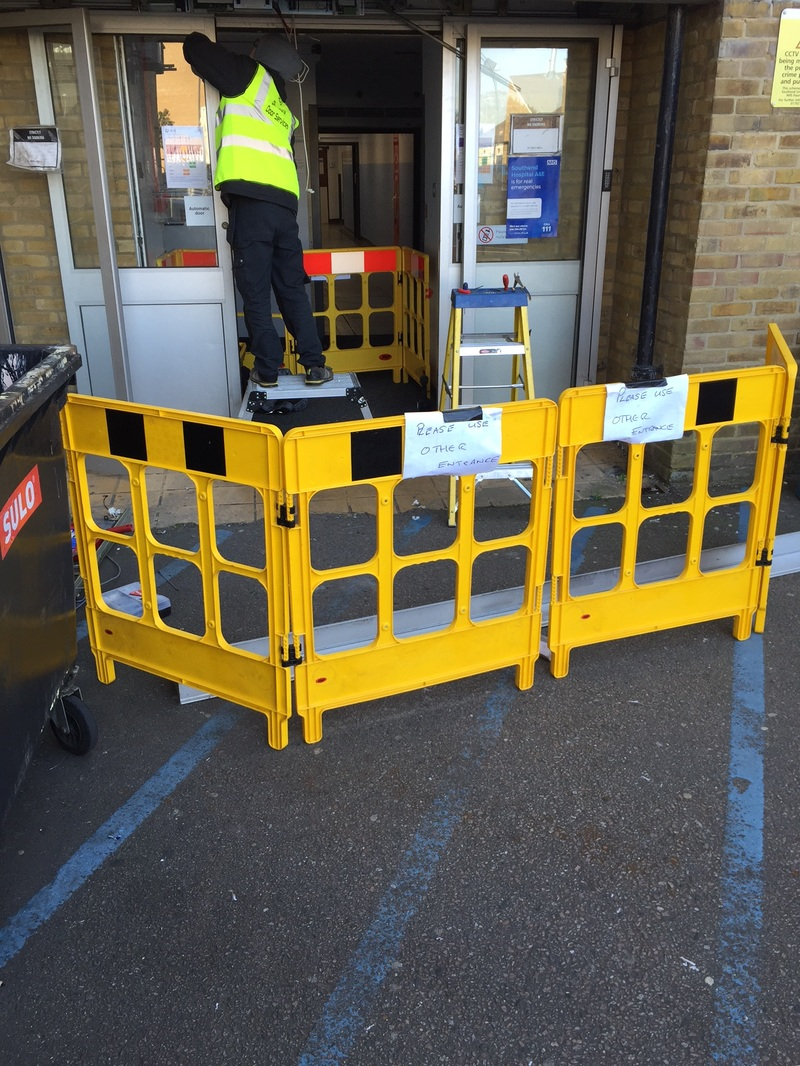 ADS Door Services repairing an automatic door in Southend On Sea Hospital